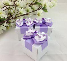 25 Lavender White Favor Boxes Wedding Bridal by AlyMishelleDesigns, $50.00