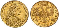 AV Ducat. Russian Coins. Peter II. 1727-1730. 1729. 3,43g. Fr 102. Bit 4. RR! Gem Uncirculated. Price realized 2011: 200.000 USD.