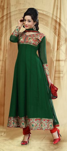408576, Anarkali Suits, Georgette, Border, Thread, Machine Embroidery, Green Color Family #festivewear #Indianwear #anarkali