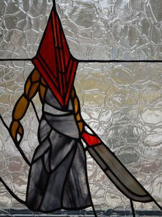 Pyramid Head Silent Hill Stained Glass Panel Movie/Video Game Art, horror art, triangle head, red pyramid thing, red pyramid, bogeyman by TheCraftingColes on Etsy