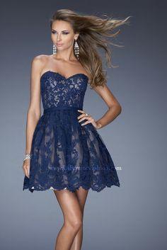 La Femme Dresses - 2014 Prom Dresses - Short Sweetheart Blue Lace