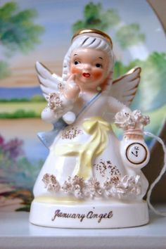 Remember these birthday month figurines? Vintage Lefton January Angel.  At Antiques at Gresham Lake: greshamantiques.com Raleigh, NC