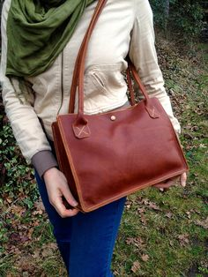 Brown Leather tote bag / Hand stitched / Large purse / Leather travel bag / Leather shoulder bag by Wallingandsons, $295.00 USD
