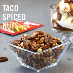 Go nuts for taco nuts! McCormick® Original Taco Seasoning Mix is an easy way to spice up your favorite mixed nuts. Munch on 'em alone or add them to snack mix with popcorn and pretzels.