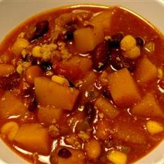 Butternut Squash and Turkey Chili Allrecipes.com   This is an excellent recipe that got 5 stars