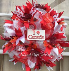 Canadian Day Wreath Deco Mesh Canadian Wreath by IslandGirlWreaths