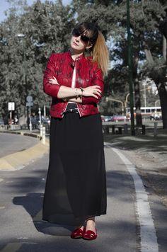 maxi skirt + snake print jacket