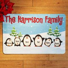 "This is so cute!! A must do for any penguin lover!! Personalized Penguin Family Doormat, 17"" x 27"""
