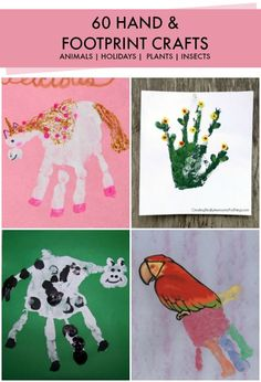 Tons of handprint and footprint crafts for kids