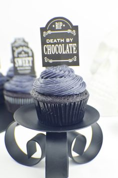 Halloween Idea: Black on Black Velvet Cupcakes with Cream Cheese Frosting
