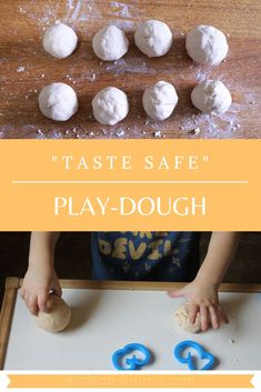 Do you need a safe play-dough recipe for your baby and toddler? This taste safe play-dough is perfect for your little ones and easy to make! 10 Month Old Baby Activities, Baby Art Activities, Playdough Activities, Learning Activities, Baby Crafts, Crafts For Kids, Clay Activity, Diy Montessori Toys, Baby Games