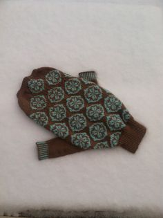 Dog sweater Blue and Brown Long sleeve . Easy by Woolycricket