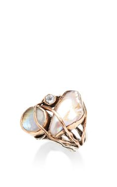 One Of A Kind 12K Gold Ring With Pearl, Labradorite And White Topaz by Sandra Dini - Moda Operandi