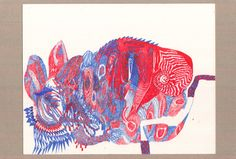 00 CHAMELEON THE ANCESTOR paper,red/blue gel pen 21*29.7cm /the origin of black lizard species,they are in the chameleon family,the reptile./