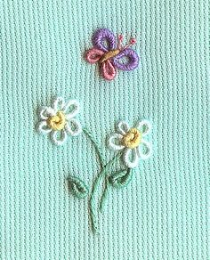 Resultado de imagem para bullion stitch embroidery from roses to wildflowers Bullion Embroidery, Hand Work Embroidery, Creative Embroidery, Hand Embroidery Stitches, Silk Ribbon Embroidery, Hand Embroidery Designs, Embroidery Techniques, Embroidery Applique, Cross Stitch Embroidery
