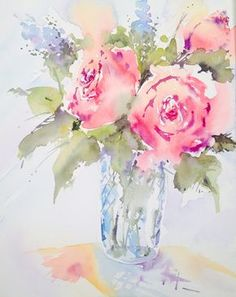 Gorgeous wet-in-wet watercolour floral by Andrew Geeson. Now available on ArtTutor.com