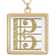 Golden Alto Clef Necklaces