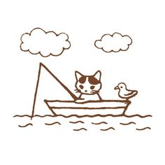 Japanese Cat Wooden Rubber Stamp Cat Fishing with by duding3600