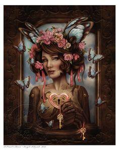 """A Hearts Choice"" digital painting by Ashwood Arts - Brigid Ashwood Art & Publishing Steampunk fairy doll - glorious and full of depth"