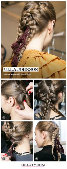 Get the Look: Ulla Johnson FW16 Step 1) Smooth hairline with Beachwaver Styling Iron & part hair to the left, blasting with Beachwaver Pro Dry. Create a diagonal part through back of head Step 2) French braid hair along diagonal, starting just behind the ear. Spray with PHYTO Finishing Spray for added texture Step 3) Gently pin braids with bobby pins & finish with PHYTO Hydrating Oil Step 4) Embellish with a tassel, braided into hair
