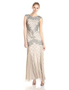 Adrianna Papell Womens Fully Beaded Gown with High Neckline  Silver 16 * Click on the image for additional details.