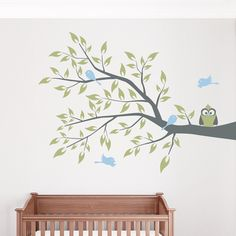 Share us on your network of choice and get 10% off your order! Owl and Four Birds on a Branch Wall Decal