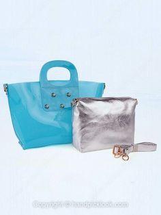 Blue Rivet Embellished Plastic Handbag -$39.69