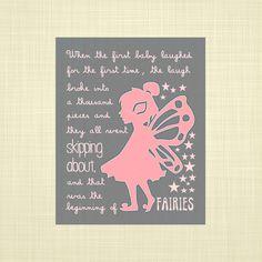 Peter Pan quote PINK and GRAY- Kids art, Kids wall art, Nursery art, Fairy art, Tinkerbell