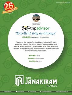 AGAIN A HAPPY CUSTOMER  Thank you for your reviews, Manikandan from #Chennai We are happy that you enjoyed your #stay at our #hotel. Thank you for your compliments. See you back soon to serve you better.  #Srijanakiram #review #tripadvisor