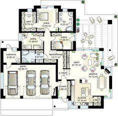 Maciejka III projekt - Parter 155.39 m² + garaż 52.49 m²