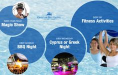 On one of the most stunning beach front locations with full sea views of the Mediterranean in Ayia Napa Cyprus stands the luxury Grecian Bay hotel with fine restaurants and bars. Fitness Activities, Summer Activities, Grecian Bay, Ayia Napa, Hotel S, High Energy, Low Key, Cyprus, Front Desk