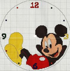 Cross-stitch Mickey Clock-face... no color chart available, use chart as your color guide... GRAFICOS PUNTO DE CRUZ GRATIS : RELOJ INFANTIL