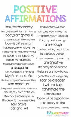 Positive Affirmations for Kids Positive Affirmations For Kids, Daily Positive Affirmations, Positive Phrases, What Is Positive, Positive Self Talk, Positive Mindset, Self Regulation Strategies, Emotional Regulation, Calm Down Quotes