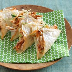 Sassy Wonton Tacos- these are made with shredded chicken, barbecue sauce, coleslaw mix and a couple of other ingredients. Best part...less than 200 calories for 2 tacos   quick and easy! If these are like Applebees then they are super yummy!