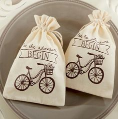 Let the Adventure Begin Muslin Favor Bags | Travel and outddor #favorcollection.