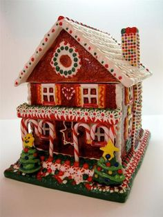 RARE Fitz and Floyd Gingerbread House Candy House Cookie Jar Le of 400 Christmas