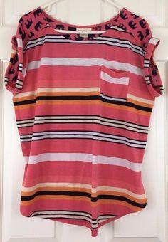 Belle Ju Jour Knit Top Rolled Crop Sleeves Stripe Elephants Pink Multi Size L #BelleDuJour #KnitTop #Caual