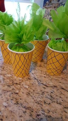 """aloha party Pineapple treat cups that I made in a pinch when the store didn't have what I was looking for. I used them for a """"Moana"""" party, but you could use for any island or tropical th Aloha Party, Hawaiian Luau Party, Hawaiian Birthday, Tiki Party, Hawaiin Party Ideas, Luau Party Favors, Luau Birthday Parties, Luau Party Ideas For Kids, Laua Party Ideas"""