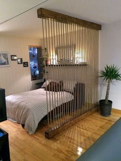 Awesome Room Divider Ideas to Make your Limited Space looks Amazing Interior Des.:separator:Awesome Room Divider Ideas to Make your Limited Space looks Amazing Interior Des. Apartment Room, Room, Small Spaces, Walls Room, Studio Apartment Divider, Home Decor, Apartment Decor, Diy Room Divider, Loft Style