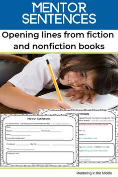 Improve students' writing with mentor sentences! The confidence they give upper elementary and middle school students to keep writing is nothing short of amazing! This packet includes 12 fiction and nonfiction opening lines. Nonfiction Activities, Social Studies Activities, Fiction And Nonfiction, Mentor Sentences, Mentor Texts, Teaching Writing, Kids Writing, Teaching Tools, Creative Writing
