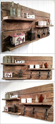 There are many ideas which help in fulfilling purposes just like the sofa cum bed, the items that can be used for different needs are best to create because they not only save the money; but also the space in many cases such as the pallet shelf / key rack combo. The idea of creating the shelf and the key rack combo using the wooden pallets is great because the pallets are not costly and the combo can help in decorating the area as well as keeping the keys safe and on a fixed place.