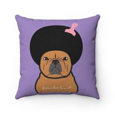 The Afro design is inspired on one of the Hip Hop singer Ice Cube's looks. This funny purple indoor pillow comes in 4 different sizes with both sides printed. Designed by Frenchie Love in London.