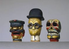 Karl Peter Röhl, 3 hand-puppet heads (court usher, doctor, death), c. 1920, wood, carved, oil colours Weimar Classics Foundation