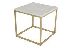 Accent Sohvapöytä Neliö 50x50cm - Vaalea marmori/ Matta messinki | Kodin1.com