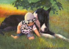 For your home, buy this print of a baby and Great Dane dog directly from the artist online shop, a trusted source for buying fine art giclee prints. Both baby and Great Dane dog had discovered a speck of interest in the grass, in slanting sunlight under a small tree.  $29.00