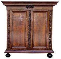 French Walnut Inlaid Decorative Carved Ribbon and Floral Cask. West Indies Style, Cornice, Wrought Iron, Armoire, Blinds, Shells, Ribbon, Carving, French