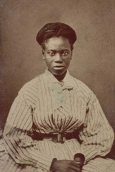 +~+~ Antique Photograph ~+~+ Young African American woman in striped dress.