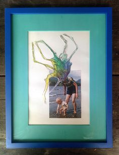 'That day at the beach' from series Watercolour Memories, 2016, found photograph and watercolour collage, 35 x 45 cm (framed) $140  #perthart #portrait #photomediartist #fremantle #buyart #artworkforsale #prints #artworks #aqua #watercolour #memory #foundphotograph #artwork #art #shoplocal #infreo #collage #artforsale #abstractphoto #artforthehome