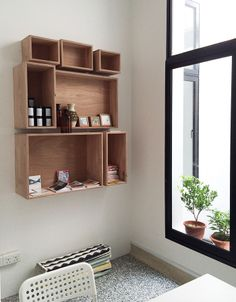 Bloesem Living | Bloesem Class Space in Tiong Bahru, Singapore Retail Interior, Room Interior, Kitchen Interior, Wood Box Shelves, Love Home, Ideal Home, My Dream Home, Wall Boxes, Workspaces