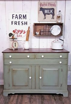 Furniture Design Ideas featuring Patina Green, Lime Green and Emerald Milk Paint and Bayberry Green and Nantucket Green Chalk Style Paint. Green Painted Furniture, Distressed Furniture, Furniture Makeover, Home Furniture, Furniture Refinishing, Furniture Ideas, Furniture Design, Bedroom Furniture, Farmhouse Buffet